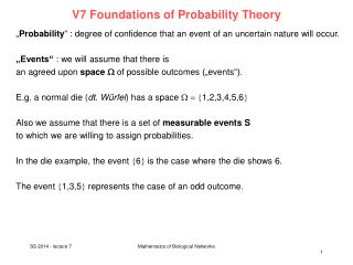 V7  Foundations of Probability Theory