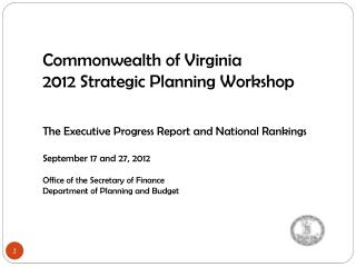 Commonwealth of Virginia 2012 Strategic Planning Workshop