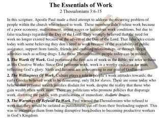 The Essentials of Work 2  Thessalonians  3:6- 15