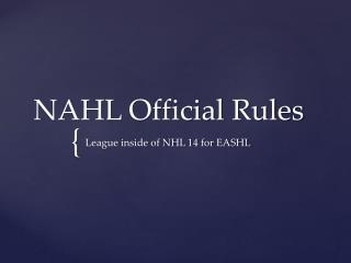 NAHL Official Rules