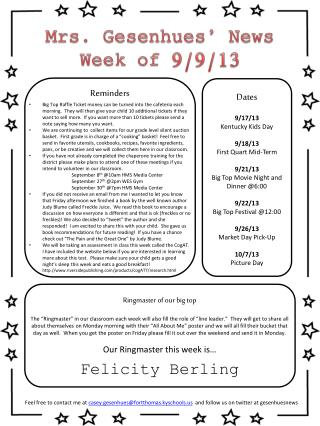 Mrs. Gesenhues' News Week of  9/9/13
