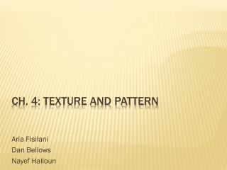 Ch. 4: texture and pattern