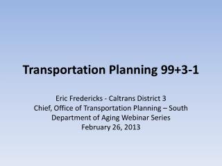 Transportation Planning 99+3-1