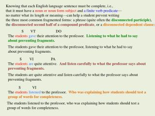 Knowing that each English language sentence must be complete, i.e.,