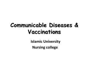 Communicable Diseases & Vaccinations