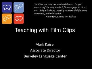 Teaching with Film Clips
