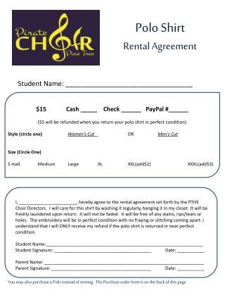 Polo Shirt Rental Agreement