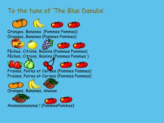 To the tune of 'The Blue Danube' Oranges,  Bananes   (Pommes Pommes )