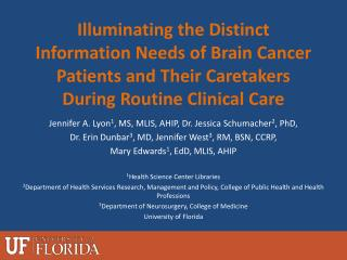 Jennifer A.  Lyon 1 ,  MS, MLIS,  AHIP, Dr . Jessica  Schumacher 2 , PhD,