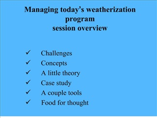 Managing today s weatherization program  session overview