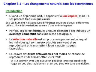 Chapitre 3.1 –  Les changements naturels dans les  écosystèmes
