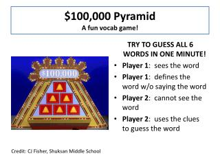 $100,000 Pyramid A fun  vocab  game!