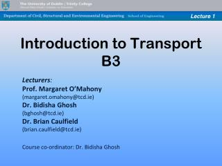 Introduction to Transport B3