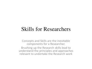 Skills for Researchers