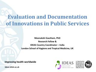 Evaluation and  Documentation  of  Innovations  in  Public  S ervices