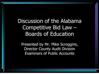 Discussion of the Alabama Competitive Bid Law   Boards of Education