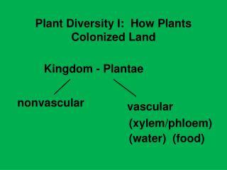 Plant Diversity I:  How Plants Colonized Land