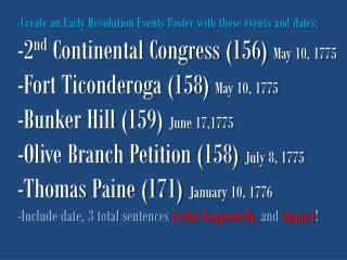 Create an Early Revolution Events Poster with these events and dates;