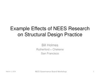 Example Effects of NEES Research on Structural Design Practice