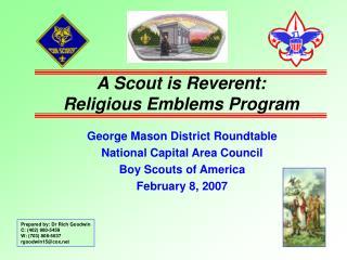 A Scout is Reverent: Religious Emblems Program