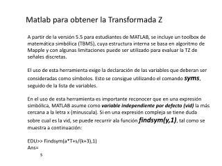 Matlab  para obtener la Transformada Z