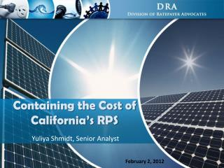Containing the Cost of  California's RPS