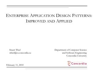 Enterprise Application Design Patterns: Improved and Applied