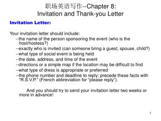 --Chapter 8: Invitation and Thank-you Letter
