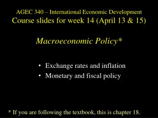 Exchange rates and inflation Monetary and fiscal policy