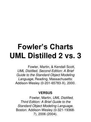 Fowler�s Charts UML Distilled 2 vs. 3