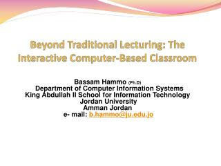 Beyond Traditional Lecturing: The Interactive Computer-Based Classroom