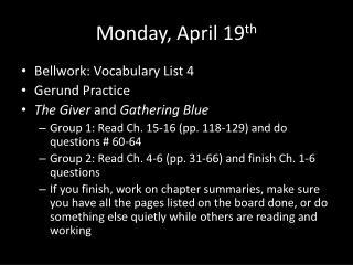 Monday, April 19 th