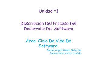 Unidad *1 Descripción Del Proceso Del Desarrollo Del Software Área: Ciclo De Vida De Software.