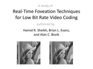 Real-Time Foveation  Techniques for  Low  Bit Rate  Video Coding