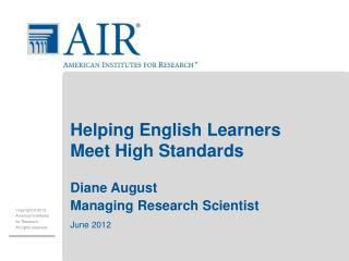 Helping English Learners Meet High Standards