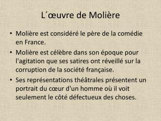 L´ œuvre de Molière