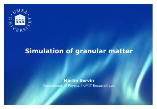 Simulation of granular matter