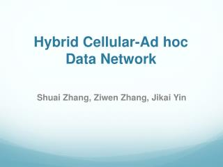 Hybrid Cellular-Ad hoc Data Network