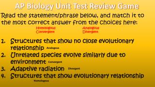 AP Biology Unit Test Review Game