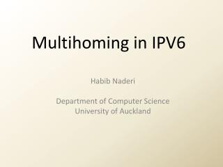 Multihoming  in IPV6