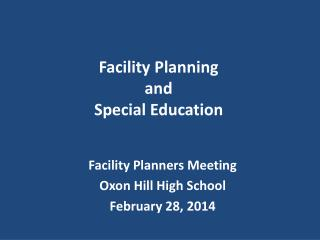 Facility Planning  and  Special Education