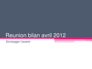 Reunion  bilan avril 2012