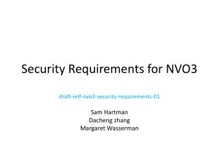 Security Requirements for NVO3