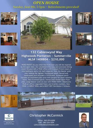 132  Cableswynd  Way Highwoods  Plantation ~ Summerville MLS# 1408804 ~ $210,000