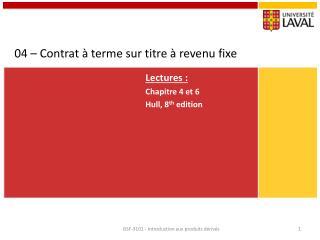 04 – Contrat à terme sur titre à revenu fixe