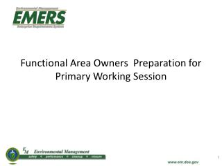 Functional Area Owners  Preparation for Primary Working Session
