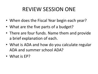 REVIEW SESSION ONE