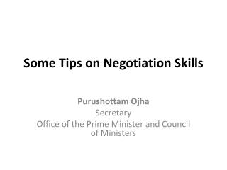 Some Tips on Negotiation Skills