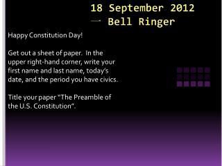18 September 2012 一  Bell Ringer