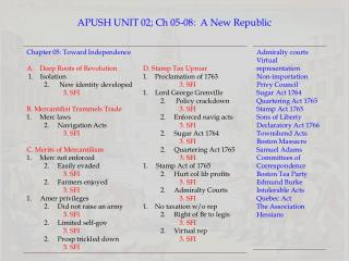 APUSH UNIT  02; Ch 05-08:   A New Republic